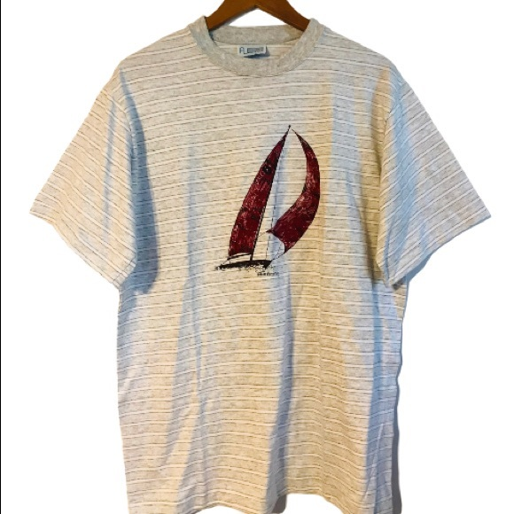 Vintage California Beach Club Medium Ringer T Shirt Sailing Boat Single Stitch